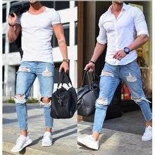 2018 Homens Elegantes Calcas Jeans Rasgado Biker Skinny Slim Reta Calcas Jeans Desgastados Novas Moda jeans skinny homens Roupas