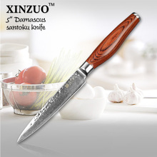 XINZUO 5″ Multi-purpose knife Damascus kitchen knives utility cutter kitchen knife damascus steel utility knife FREE SHIPPING