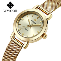 2016 WWOOR Luxury Brand Women Dress Watches Ladies Thin Quartz Watch Steel Mesh Band Golden Fashion
