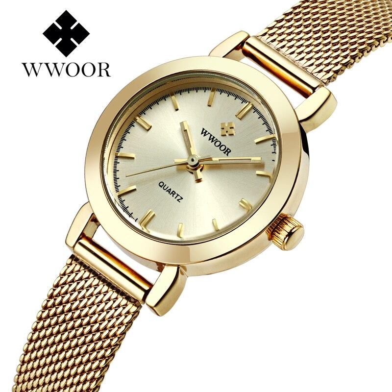 e7876f48b1df 2016 wwoor marca de lujo vestido de las mujeres relojes señoras reloj de  cuarzo fina malla de acero moda de oro reloj Relogio feminino