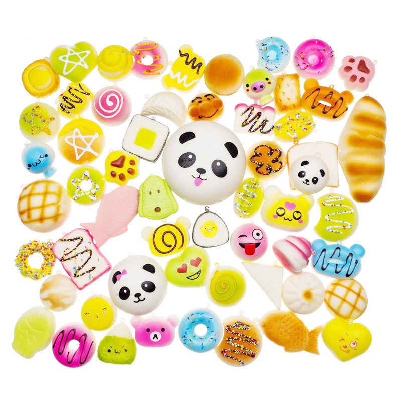 30pcs Mini Mixed Squishy Slow Rising Simulation PU Bread Soft Squeeze Toys Phone Straps Stress Relief Joke for Kid Xmas Gift Toy image