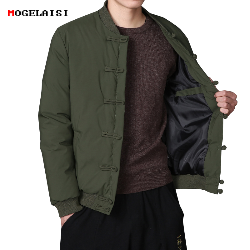 Men Jackets Chinese Style Rib Sleeve Mens Coat Army Green Jackets Autumn Winter Cotton Jacket Men's Clothes Thick size M-5XL