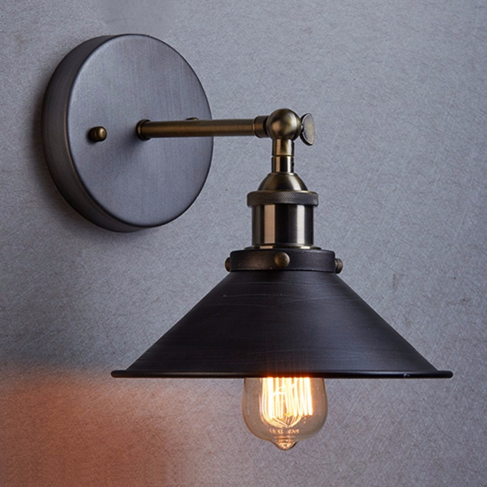 Bedside lamps wall mounted - Aliexpress Com Buy Loft Style American Vintage Wall Lamp Indoor Lighting Bedside Lamps Wall Lights For Home Diameter 21cm 110v 220v E27 From Reliable