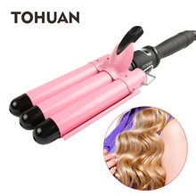 TOHUAN Ceramic Hair Crimp Curling Iron Triple Barrel Hair
