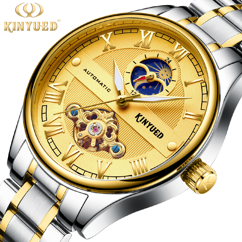 KINYUED Skeleton Automatic Mechanical Watch Luxury Men Watch Waterproof Fashion Casual Sports Watches Relogios Masculino t winner luxury brand skeleton mechanical hand wind watch men casual sports leather strap gold fashion clock relogios masculino