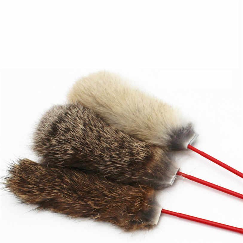 ペット猫ティーザーフェイクウサギの毛猫ジャンプ杖猫キャッチャーティーザースティック猫インタラクティブトレーニングおもちゃ卸売 # F #40DC26