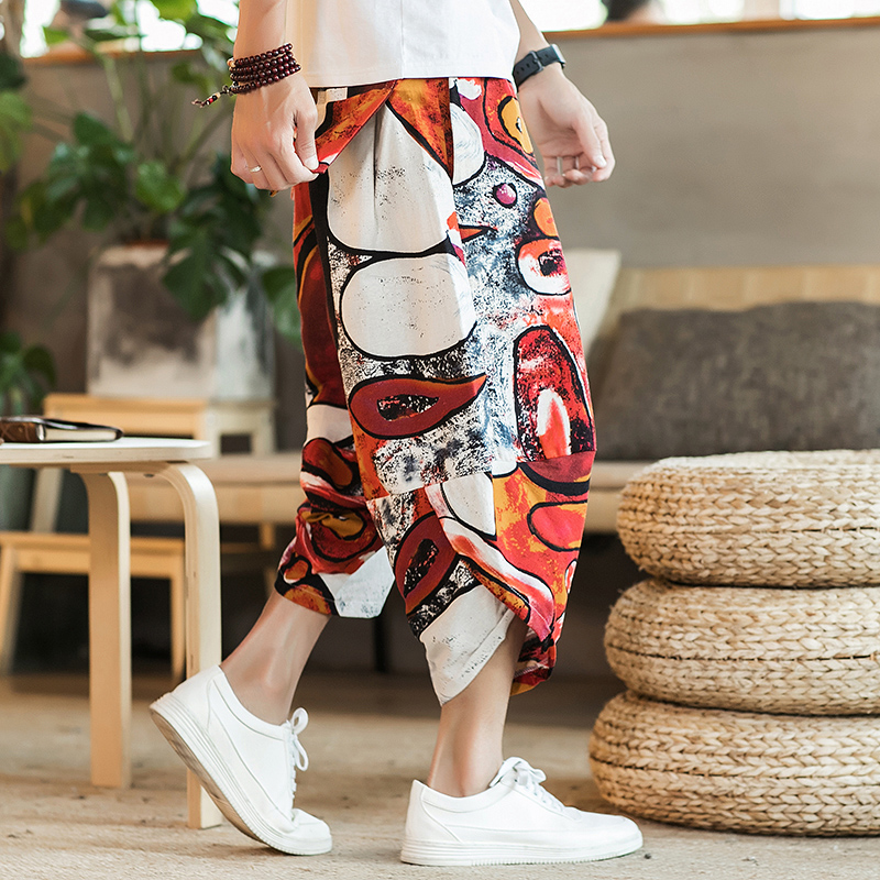 Linen Pants Harajuku Loose Chinese-Style Men's High-Quality Harlan And Light