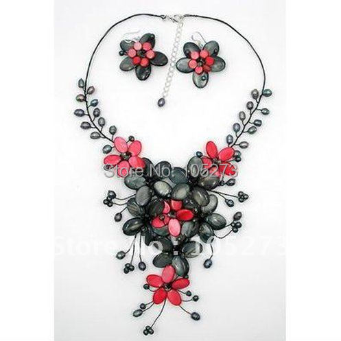 Red & Dark Gray Mother Of Pearl Shell Freshwater Pearl Flower Necklace & Earring Set 18'' Fashion Jewelry Free Shipping FN2197 liberty project чехол флип для fly iq4503 black