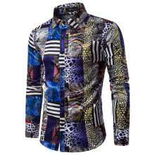 Bildresultat för Plaid Patchwork Shirt Retro Snakeskin Print Boys Blusa Party Style Casual Blouses Spring Long Sleeve Cotton Tops Tide Streetwear