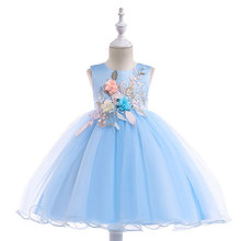 BOTEZAI Girls Dress Kids Clothes Party Elegant Flower Children Princess Wedding Gowns for Girl 4-8years old