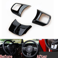 3pcs ABS Car Interior Steering Wheel Cover Trim Frame Decoration For Patriot Compass Wrangler 2011 2016