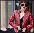 2016 NEW Rivet Motorcycle Pu Leather Jackets Woman Fashion Streetwear Red Black White Jaquetas De Couro Femininas