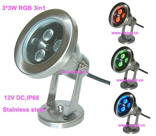 stainless steel,High power 9W LED RGB pool light,LED RGB underwater light,24V DC,DMX compitable,DS-10-32-9W-RGB-24V free shipping by dhl ip68 stainless steel high power 9w led swimming pool light underwater led light ds 10 1 9w 3x3w 12v dc