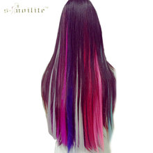 SNOILITE Long Straight Women Synthetic Cosplay Clip in Hair Extensions Rainbow Colors one piece Hairpiece purple pink red blue