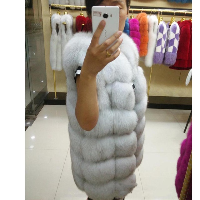 New Real fur vest fox women full pelt fox fur coat winter fur jacket outerwear customized big size DHL EMS Free shipping A#5