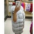 Nuevo Real chaleco de piel de zorro mujeres completo de piel de zorro abrigo de piel chaqueta de piel de invierno ropa de abrigo personalizado de gran tamaño DHL Envío Libre del CCSME A #5