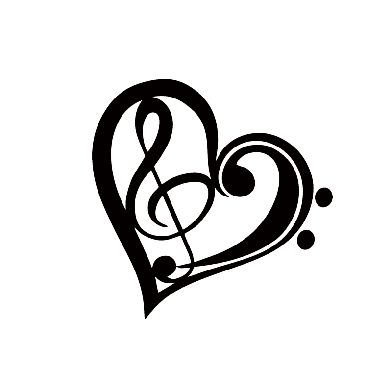 2017 Hot Sale Car Stying Bass Treble Clef Heart Vinyl Decal Sticker Car Window Wall Bumper Love Music Jdm