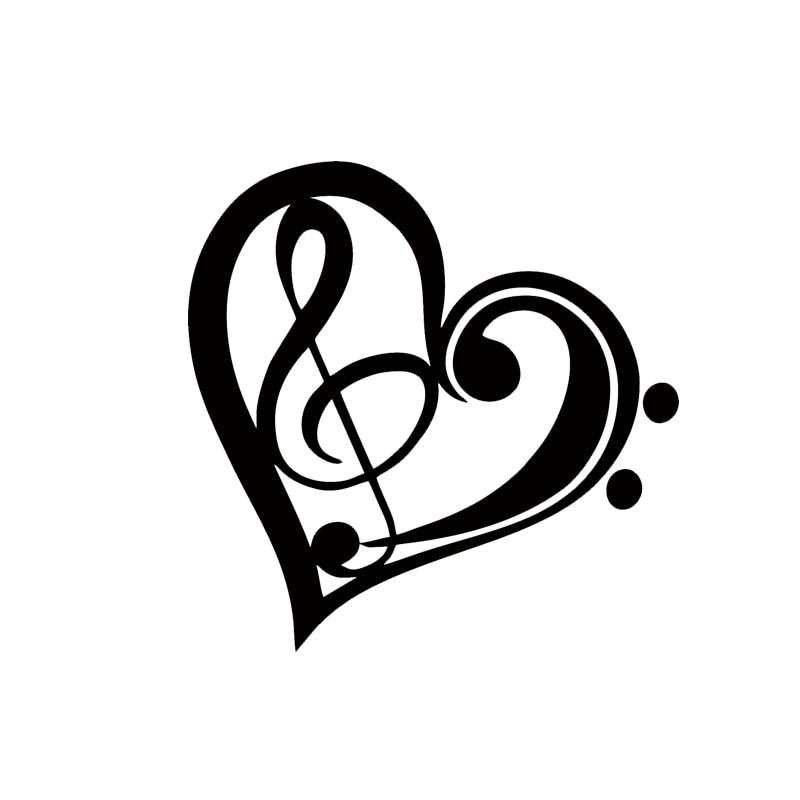 2017 Hot Sale Car Stying Bass Treble Clef Heart Vinyl Decal Sticker Car Window Wall Bumper Love Music Jdm