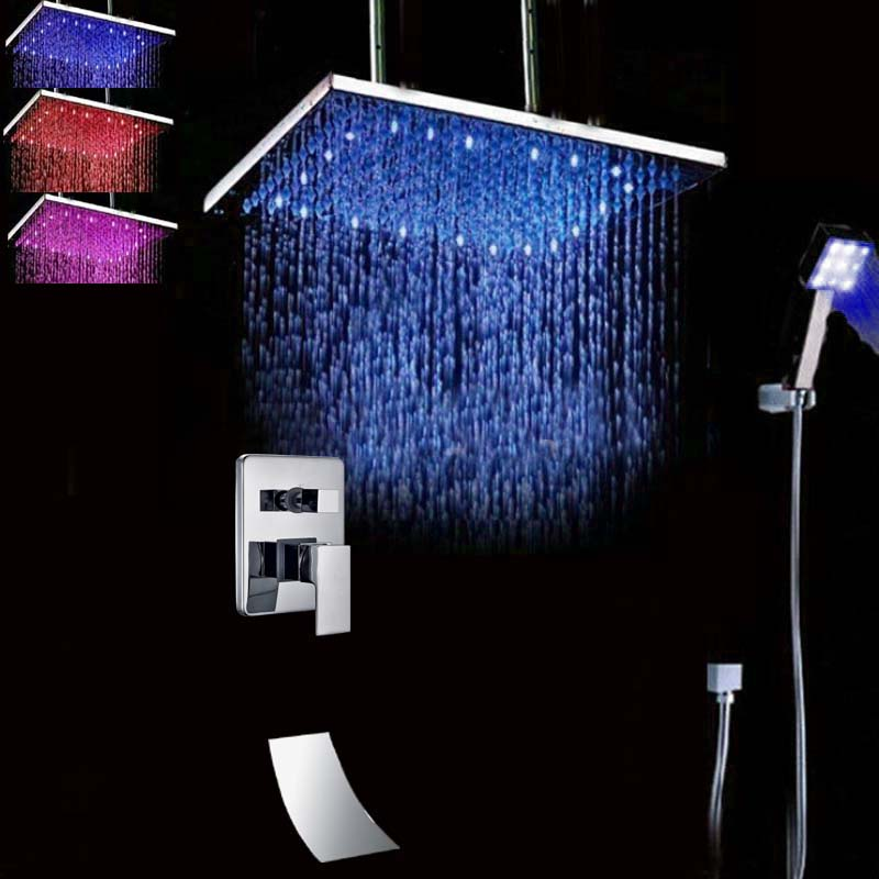 Wholesale And Retail Huge Ceiling Mounted LED Rainfall Shower Head Chrome finish Shower Faucet W/ Hand Shower