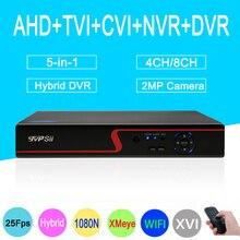 Красный Панель 1080 P Камеры Скрытого видеонаблюдения xmeye приложение 8CH/4CH 25fps 5 в 1 коаксиальный Гибридный NVR CVI TVI AHD видеонаблюдения DVR Бесплатная доставка