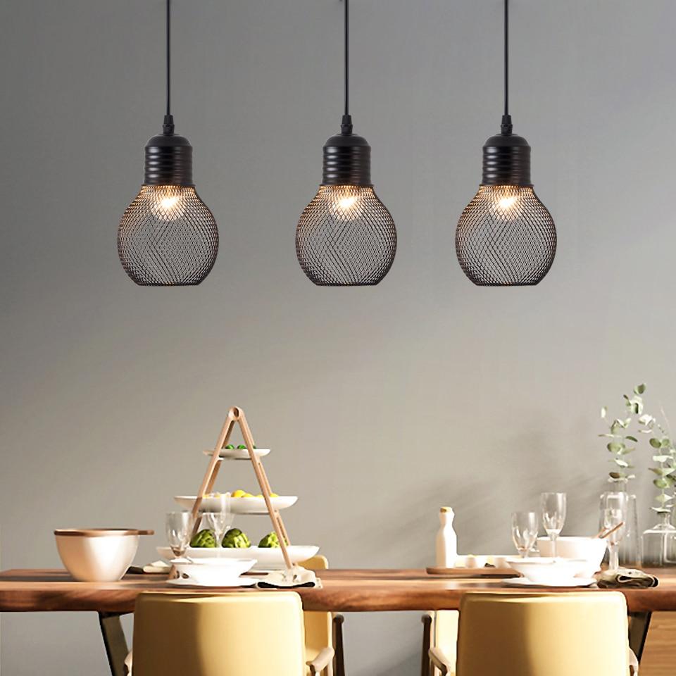 OYGROUP Modern Black E27 Pendant Light Metal Bulb Shaped Black Finished Hanging Light Fixture For Kitchen Dining