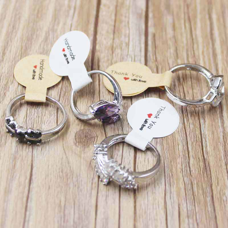 300PCS Various Style Handmade Paper Jewelry Tag Labels DIy Thank You With Love Jewelry Price Labels Silver Foil Sticker Labels