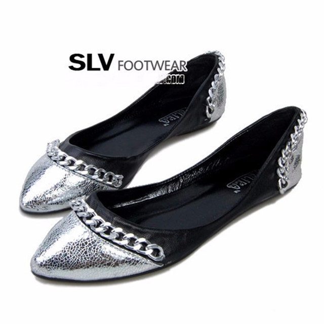 Ladies Cheap Retro Silver Chains big size(4-16)pointed toe cover heels Platform Women single shoes Western summer style black