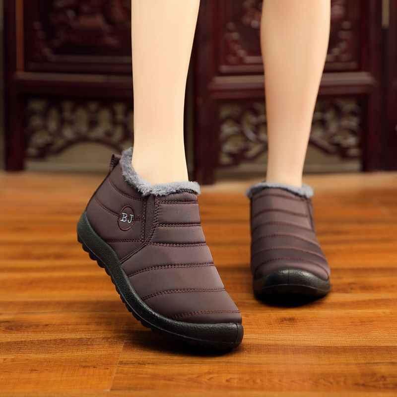 MEMUNIA Artı boyutu 35-43 2019 Yeni kar botları kalın kürk üzerinde kayma sıcak aşağı kış çizmeler kadınlar bayanlar düz ayak bileği pamuklu ayakkabılar