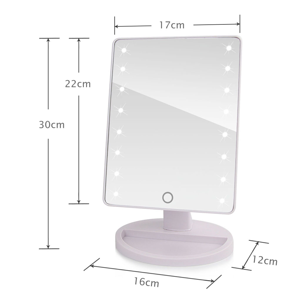 LED Touch Screen Makeup Mirror Professional Vanity Mirror With 16/22 LED Lights Health Beauty Adjustable Countertop 180 Rotating 4