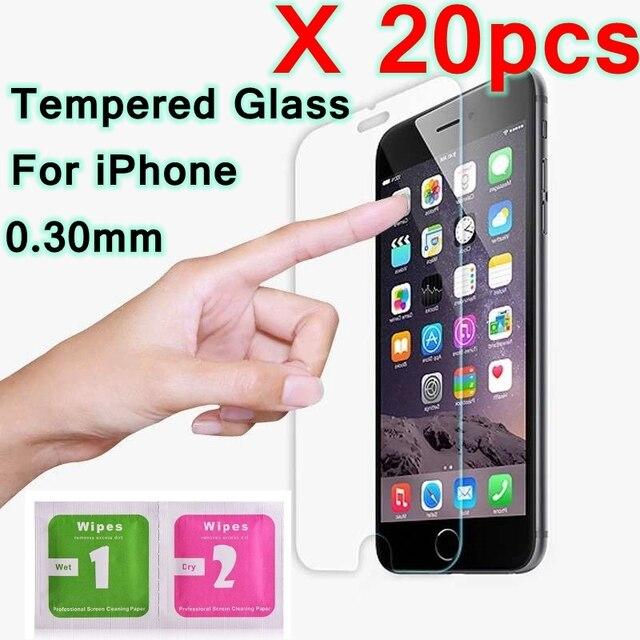 20 ピース/ロット 9H 強化ガラス 11 プロ Max X テン 5 5s 、 se 6 6s 7 8 プラス XS XR XS スクリーンプロテクターフィルム発泡パッケージ