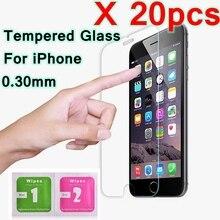 Lote de 20 unidades de vidrio templado para pantalla de móvil, película protectora de espuma para iPhone 11 Pro Max X Ten 5 5s SE 6 6s 7 8 Plus XS XR XS Max
