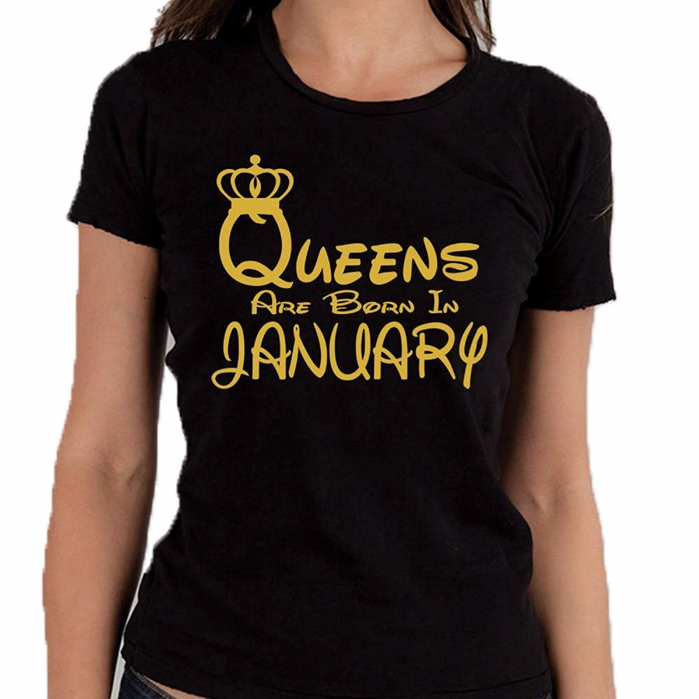2018 Summer New Fashion Slim Tee Shirt Short Sleeve Tops Queens Are Born In January T-Shirt Black Gold Lettres