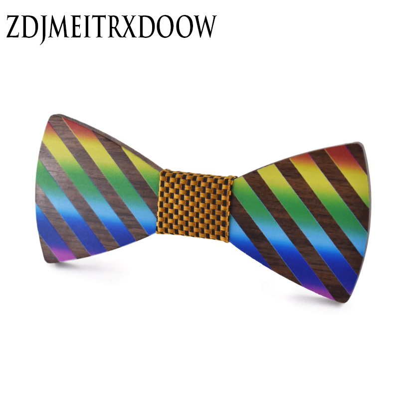 New Design Rainbow Wood Bow Ties For Mens Wedding Suits Wooden Bow Tie Butterfly Shape Bowknots Gravatas Printing Cravat