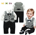 1pcs Baby Romper New Baby boys set Romper Gentleman modelling infant long sleeve climb clothes kids body suit