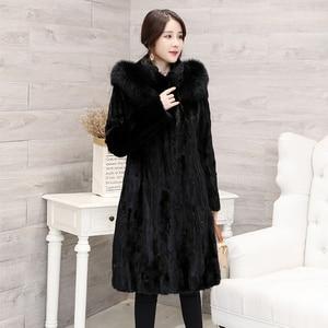 Image 2 - 2018 חדש נשים של חתיכות טבעי אמיתי מינק פרווה מעיל עם קפוצ ון ארוך סגנון מלא שרוול אמיתי פרווה החורף להאריך ימים יותר