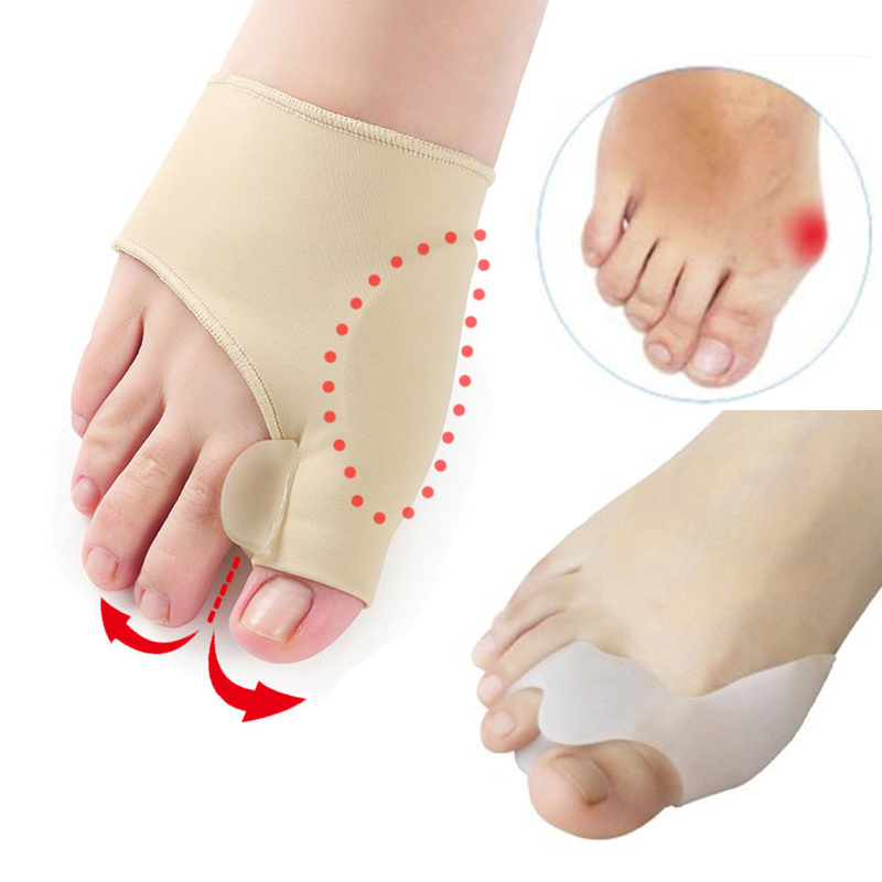 2Pair=4pcs Toe Separator Valgus Correction Of Bone Thumb Bunion Corrector Straightener Socks For Pedicure Foot Care Shoes Insole