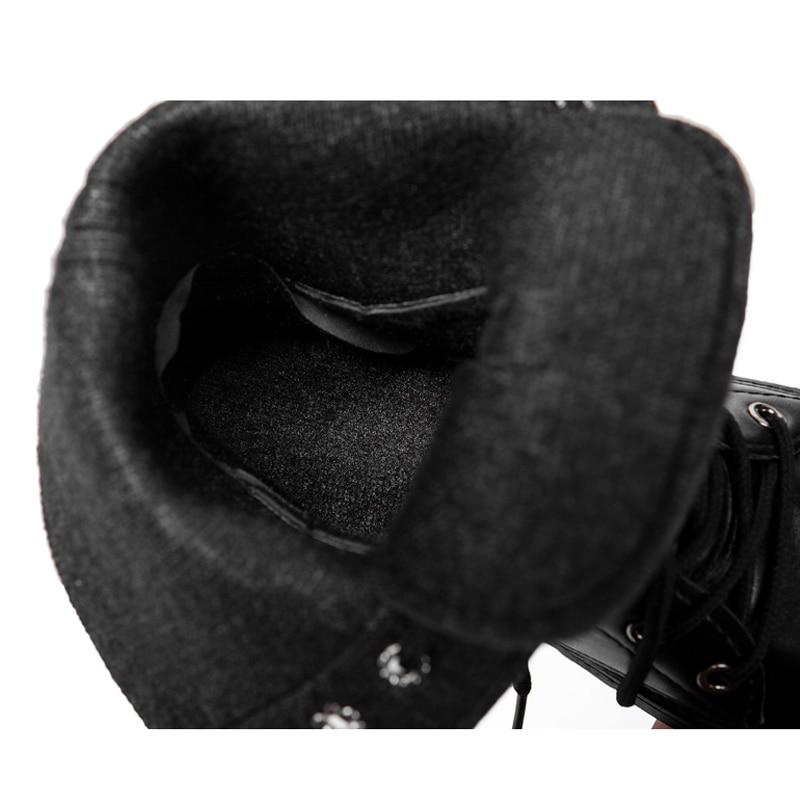 Bottes Lacent En Cheville Grapara Peluche 2018 Plate Pour Bout Dames Carrés Rond Bas Talons forme Femmes Moto Noir Y1xqE