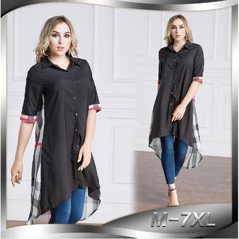 e6752919ea6 Muslim Blouse Women's Tops Print Shirt Dress Plaid Abaya Robe Loose Style  Jubah Plus Size Ramadan