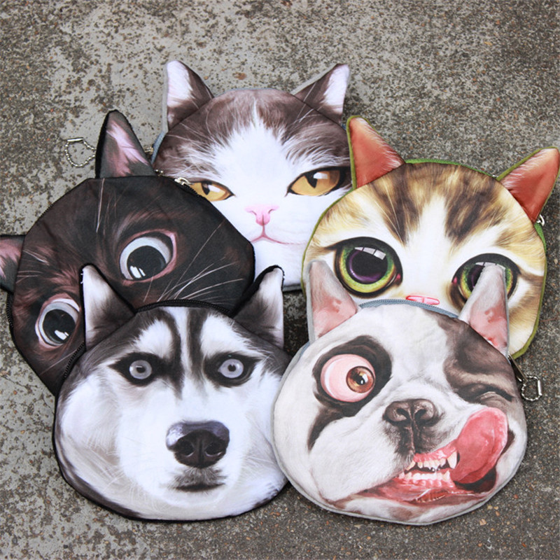 Hot sale 3D Dog Cat coin purse women fashion personality key case cards holder kids coins bag short organier wallet animal pouch