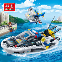 [small particles] buoubuou creative educational toys toy bricks series water 7012 new police patrol