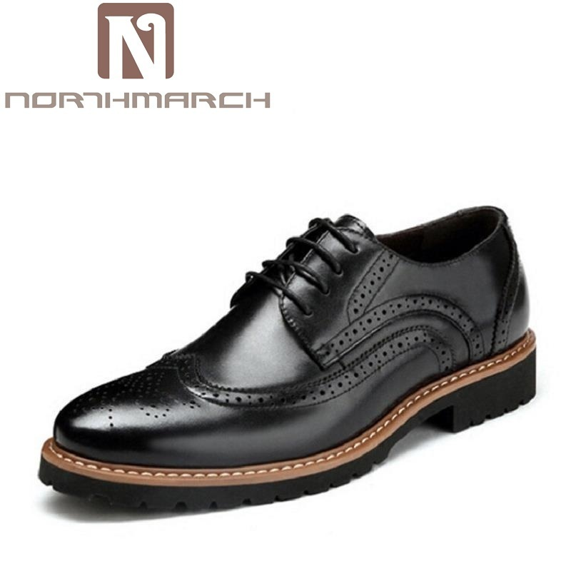 NORTHMARCH Men Dress Shoes Autumn Fashion Genuine Cow Leather Lace Up Brogue England Mens Business Casual Shoes Brown Bottine zero more high quality men oxford shoes british style carved genuine leather brogue shoes lace up bullock business mens