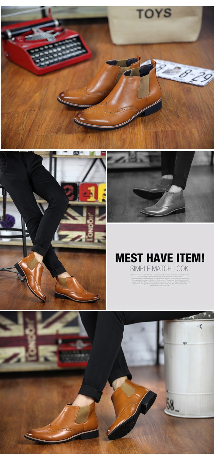 LOVE Spring Autumn Men\'s Chelsea Boots Casual Round Toe Brogue Leather Boots For Men Ankle Boots Square Heel Dress Shoes F107 (6)
