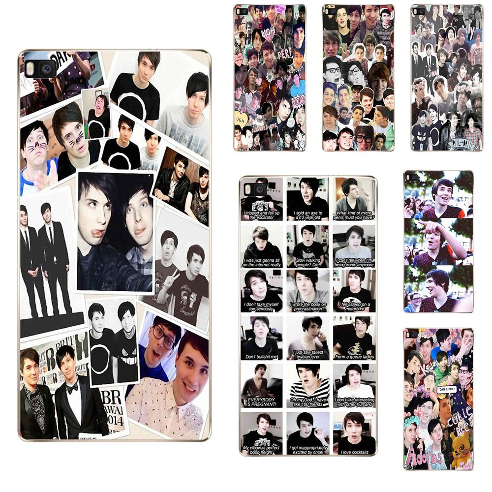 Us 1 99 Soft Mobile Phone Cases Dan And Phil Collage For Huawei G7 G8 Honor 5a 5c 5x 6 6x 7 8 V8 Mate 8 9 P7 P8 P9 P10 Lite Plus In Half Wrapped
