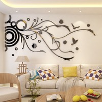 Wall Decor Decals For TV Background Living Room Wall Stickers 3D Linear Flower Vine Wallpaper Modern Style Home Decoration Mural
