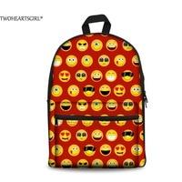 TWOHEARTSGIRL Funny Emoji Printing Canvas Backpack Girls 3D Cute Smile Backpack for Teenage Travel School Back Bag Bolsa Mochila