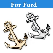 Car Boat Anchor Hooks Navy Grill Metal Badge Stickers for Ford Fiesta Fiesta ST Five Hundred Flex Focus RS Focus ST Freestyle