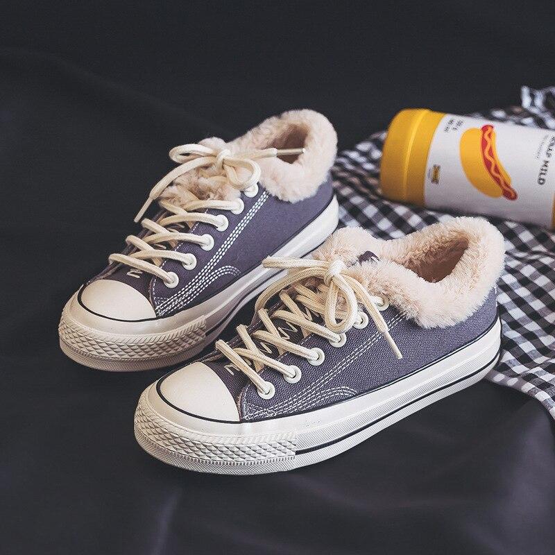 Повседневная парусиновая обувь для женщин джинсовая вулканизации с Мех животных теплые туфли без каблуков зима бархат Джинс - Цвет: gray