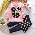 Hot Spring Baby girls clothing Set toddler clothes suits cartoon tees+polka dot skirt pants Legging twinsets children clothes