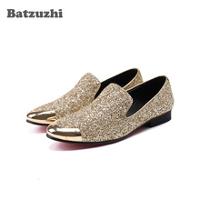 Batzuzhi Luxury Men Shoes Metal Toe Gold Glitter Leather Dress Shoes Loafers Men Flats for Men Wedding and Party Zapatos Hombre vivodsicco fashion gold metal signature shark tooth genuine leather men loafers carved bullock party men printing dress shoes
