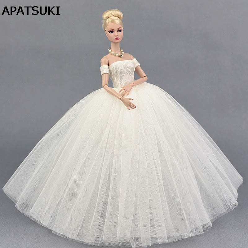 Pure White Wedding Dress for Barbie Doll Princess Evening Party Clothes Wears Long Dress Clothes for Barbie Doll 1/6 Accessories doll wedding dress 100% handmade warm red luxury crystal bride wedding doll big trailing evening gown for barbie doll